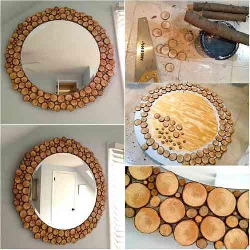 espejo circular con detalles de madera