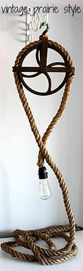lampara con cuerda y polea