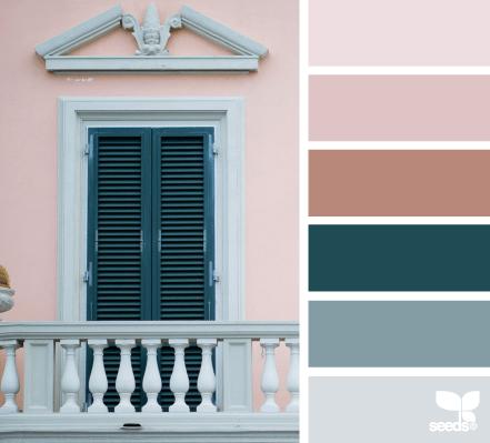 combinación de colores - rosados y azules