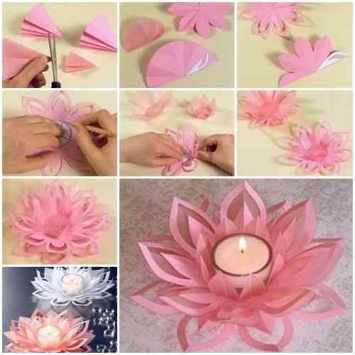 Flor de loto de papel para portavelas de decoración