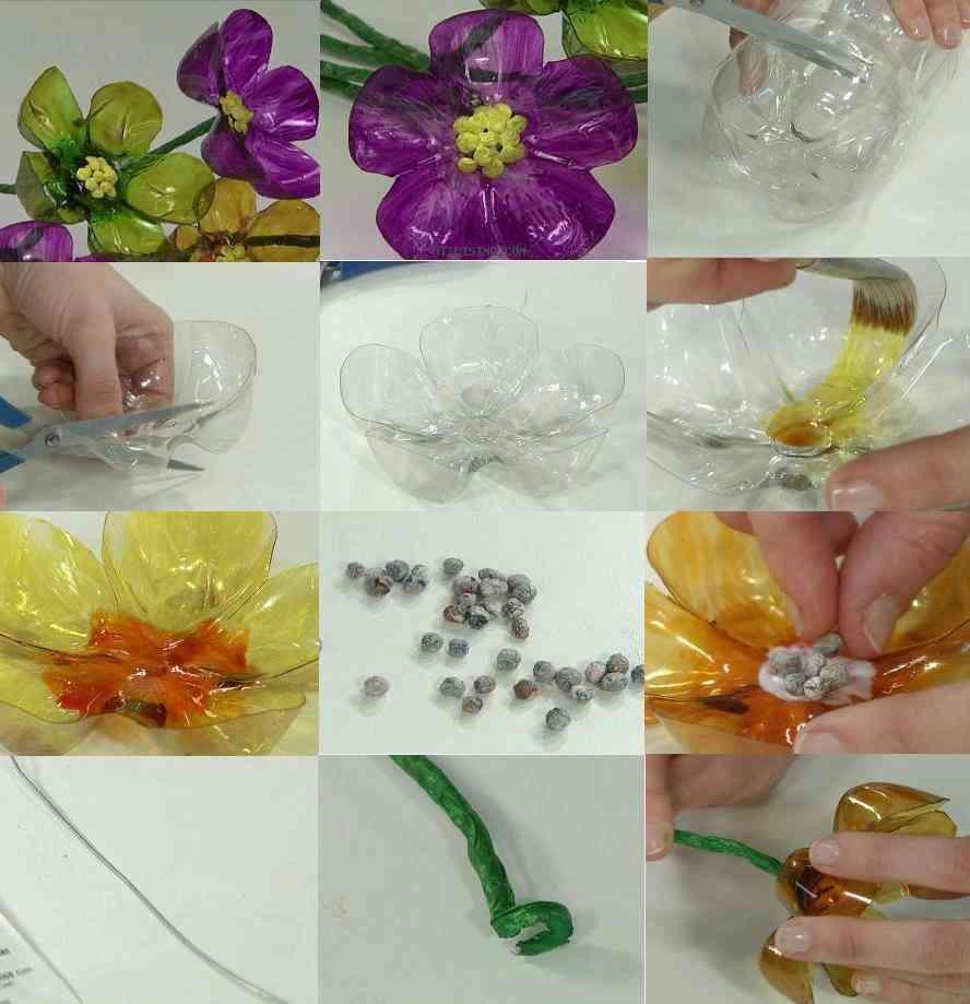 flores de botellas recicladas