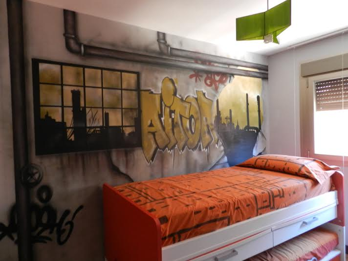 Decoraci n innovadora con graffitis - Graffitis en dormitorios ...