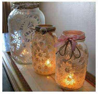 jarras forradas de encaje