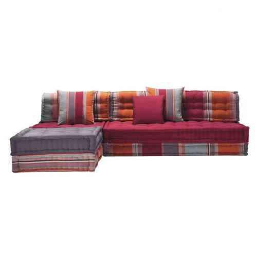 sofá de esquina estampado