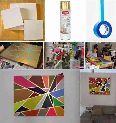 Cuadro para la pared original hecho paso a paso for Cuadros con formas geometricas