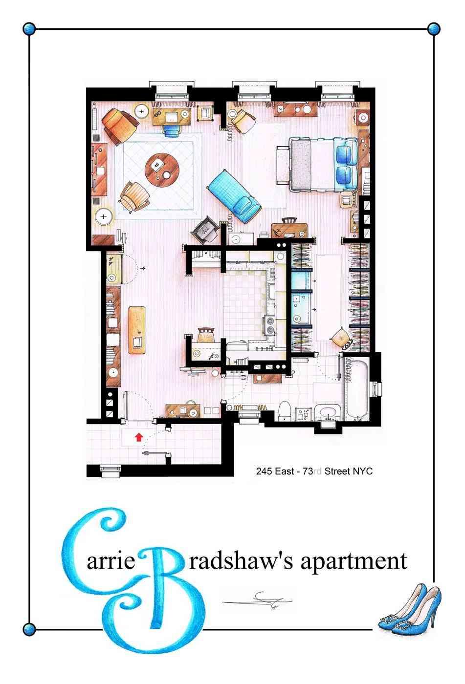 plano de piso de Carrie Bradshaw