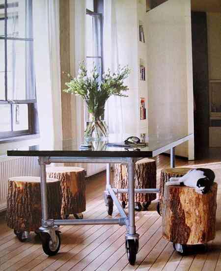 taburetes con troncos