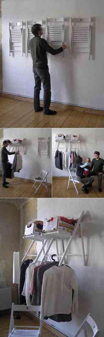 sillas transformadas en armario