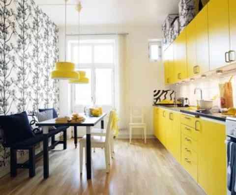 cocina en color amarillo