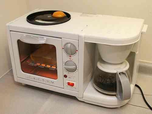 electrodoméstico todo en uno cafetera, sarten y tostadora