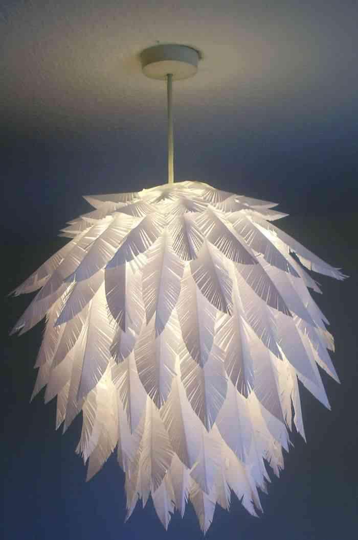 lmpara de hojas de rbol reproducida en papel