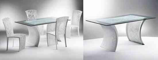 mesa y sillas con encaje e hilos