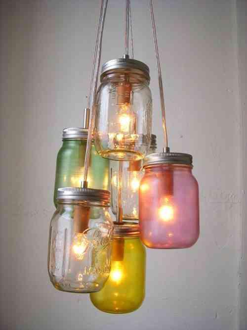 tarros cristal como lámpara
