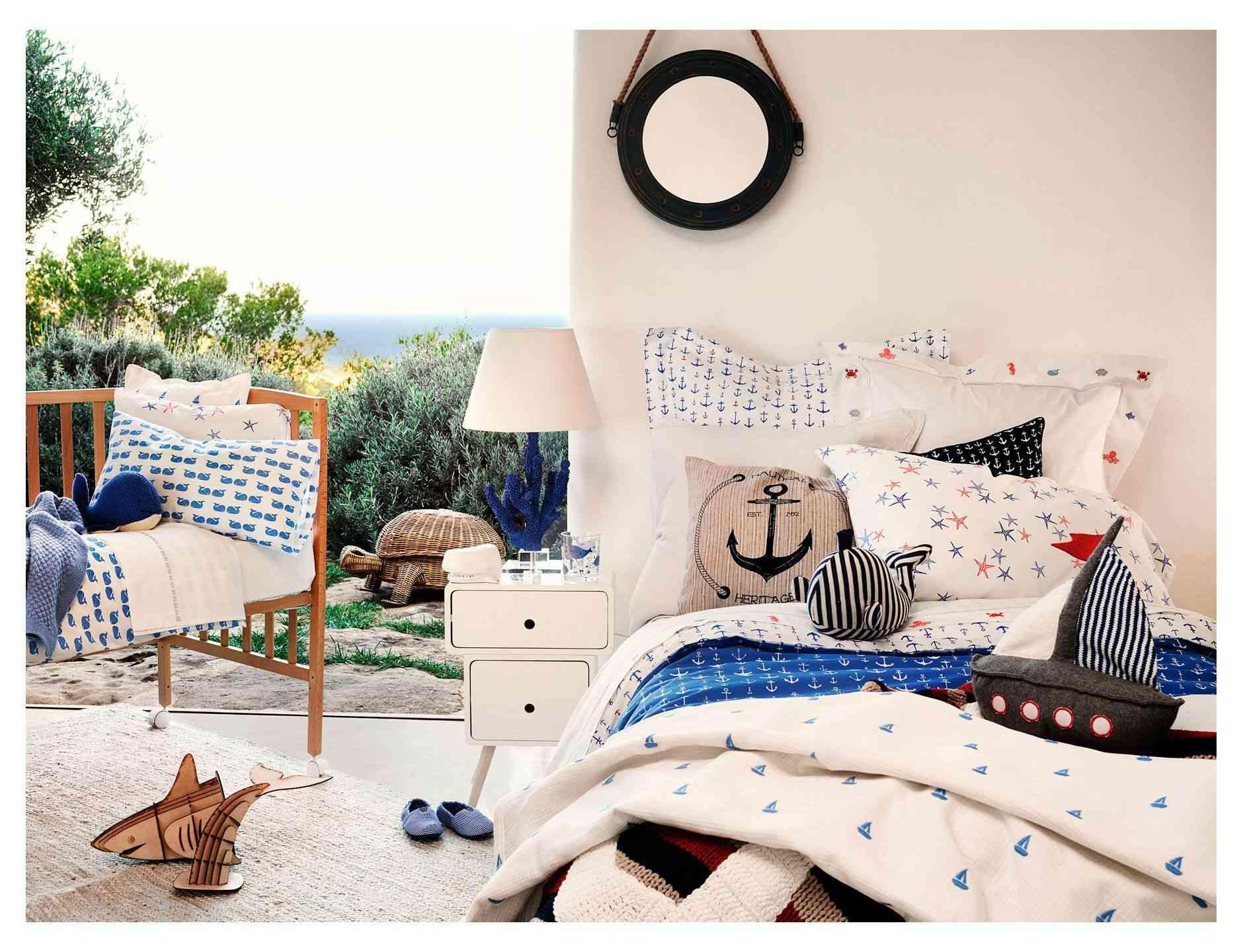 textiles de cama estilo marinero en Zara Home