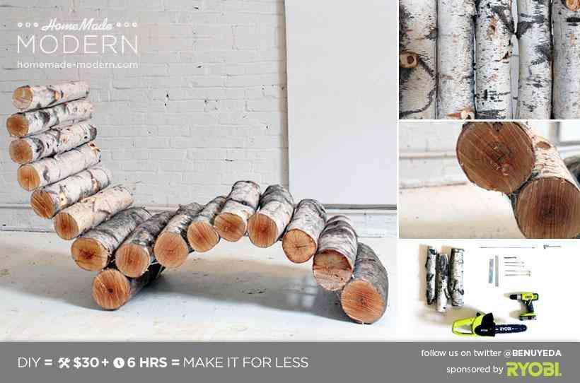Muebles para exteriores DIY - Tumbona hecha de troncos de madera