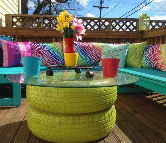 DIY Muebles de exteriores. Una mesa con neumáticos reciclados