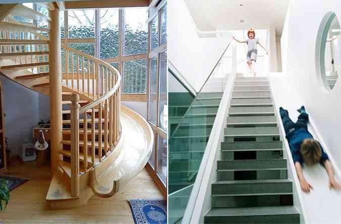 Unas escaleras con tobogán para bajar