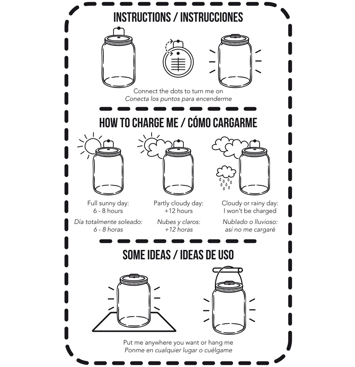 instructions and use of a solar lamp in a glass jar