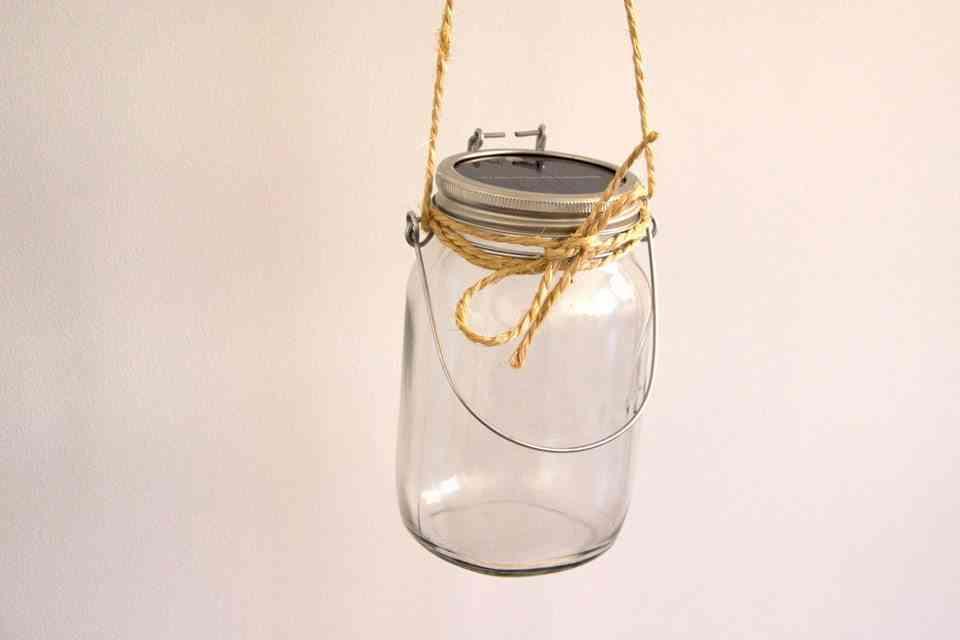 solar lamp in glass jar