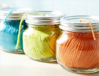 utilizar tarros de cristal - dispensador de lana