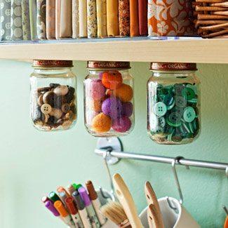 utilizar tarros de cristal - organizadores de costura