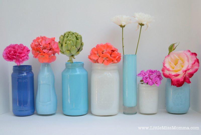 utilizar tarros de cristal - frascos pintados