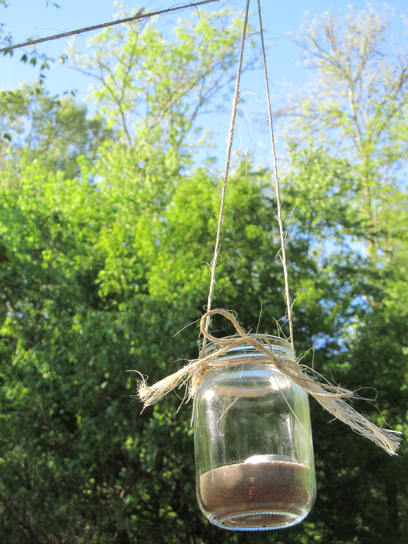 utilizar tarros de cristal - frasco de cristal colgado