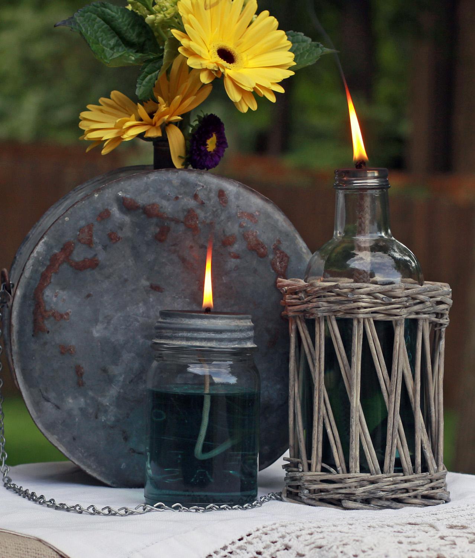 utilizar tarros de cristal - composición con velas