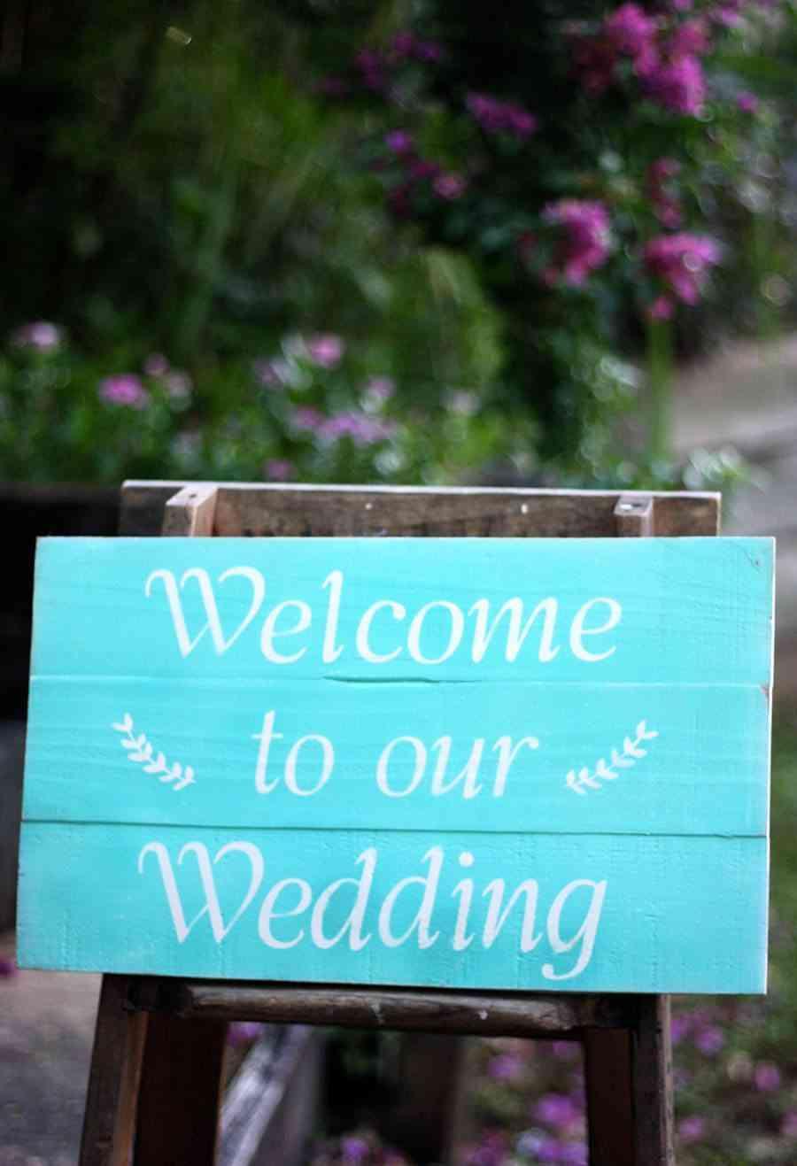 cartel de bienvenida boda vintage