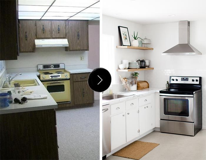 El antes y el después una cocina sin armarios superiores
