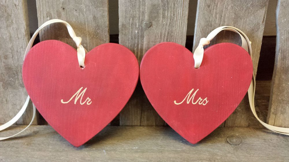 boda vintage Corazones Mr & Mrs