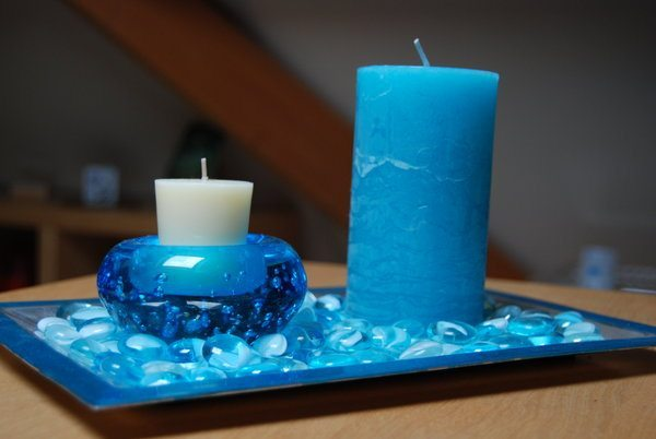 Decoración con velas en color azul