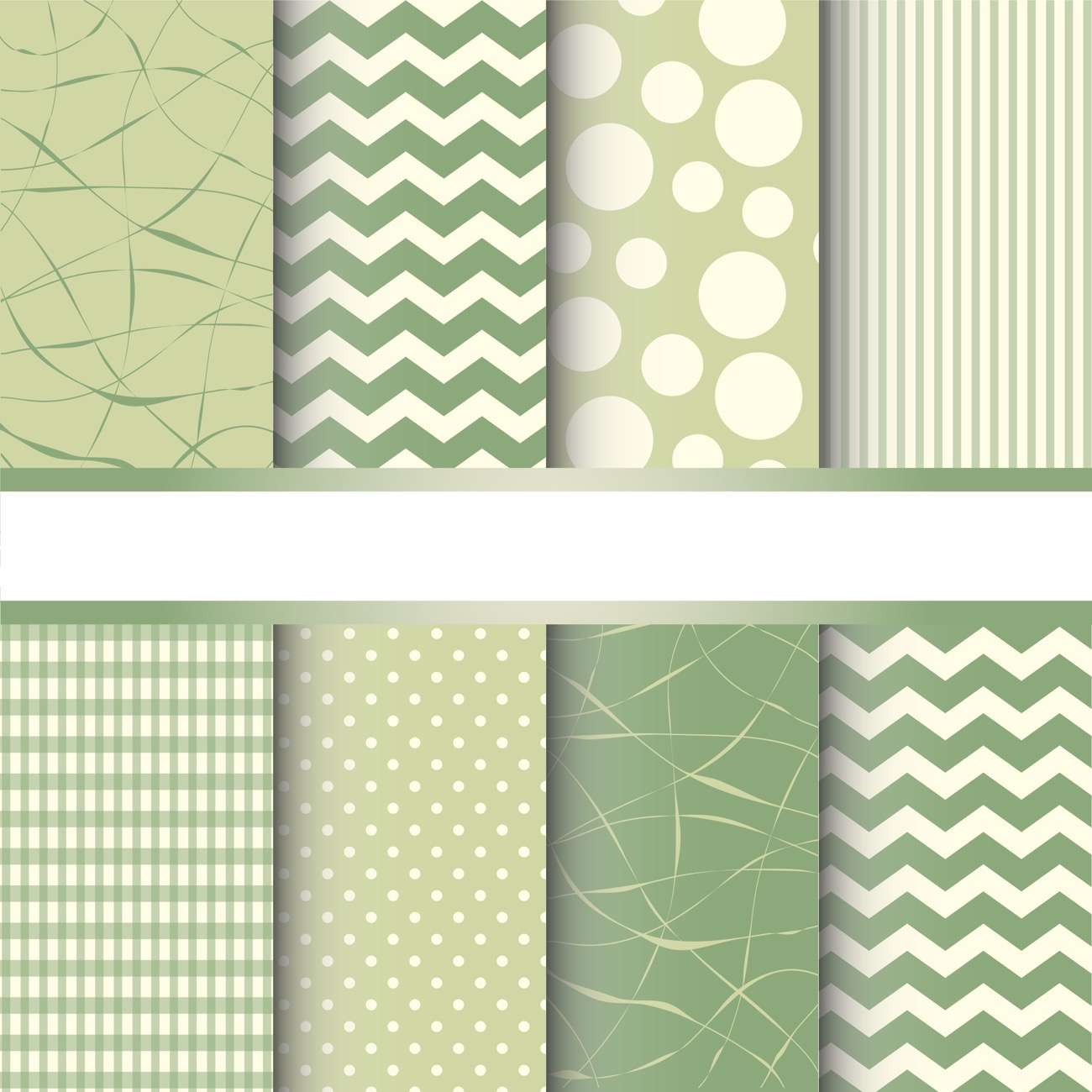 Set of green pastel jumbo polka dots, gingham and chevron seamless patterns. Vector background
