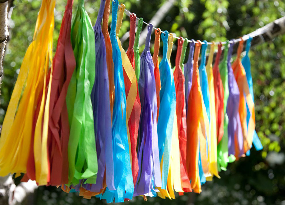 fiesta infantil guirnalda arco iris