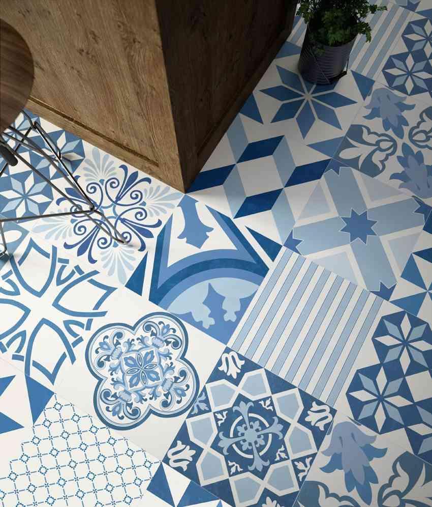 como decorar con azulejos en azul y blanco aparici serie blue natural