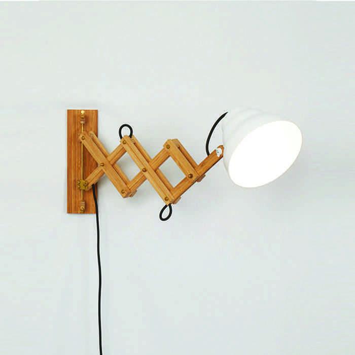 lamparas de madera aplique de tijera
