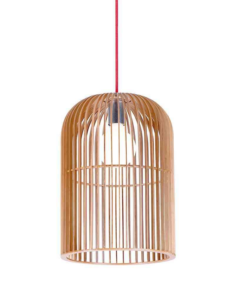 lamparas de madera colgante jaula madera