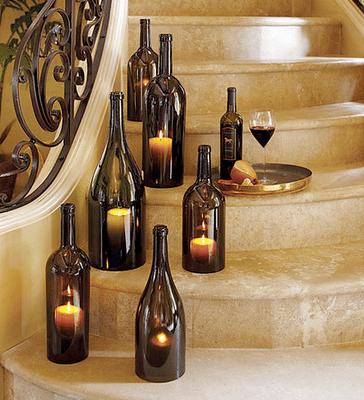 decorar con botellas de cristal