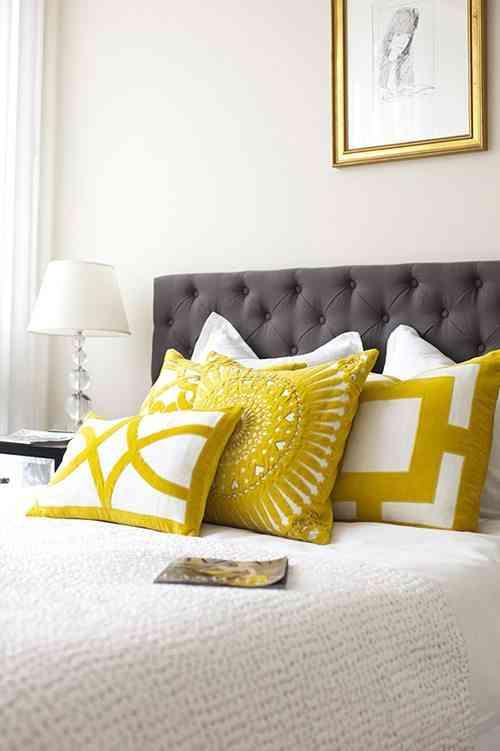 decorar con cojines cama elegante