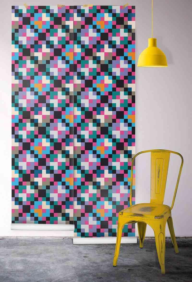empapelar las paredes geometrico colores