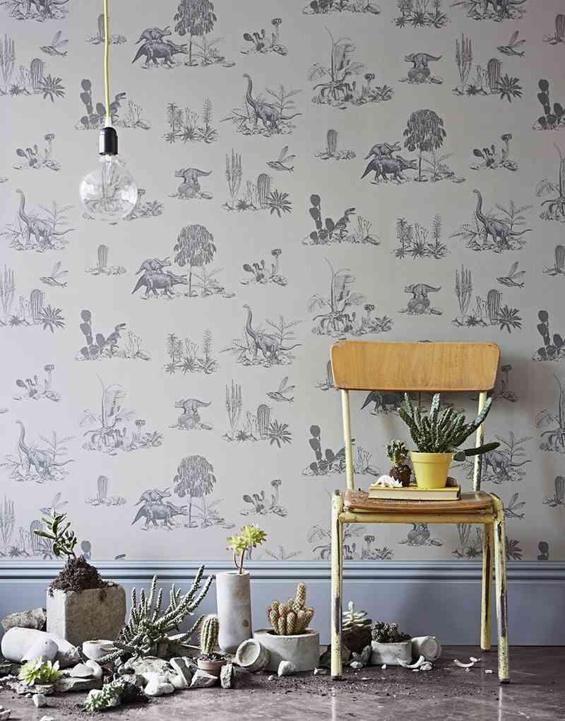 empapelar las paredes papel dino gris