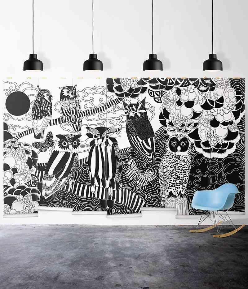 empapelar las paredes papel pintado en blanco y negro