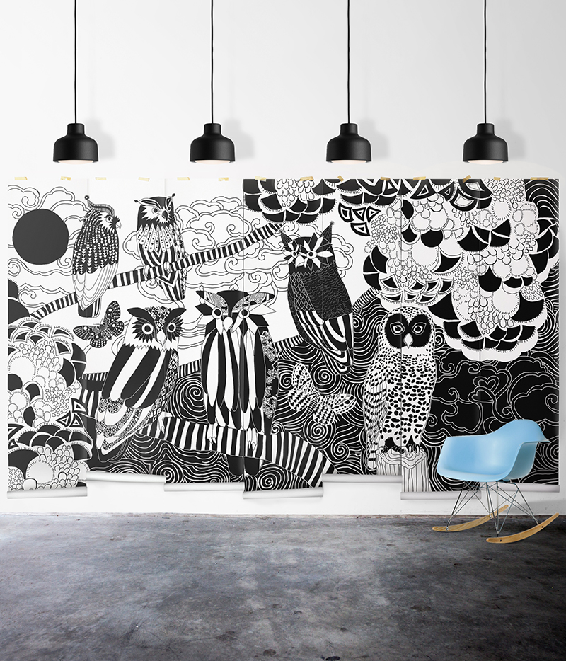 Empapelar las paredes papel pintado en blanco y negro - Papel pintado blanco y gris ...