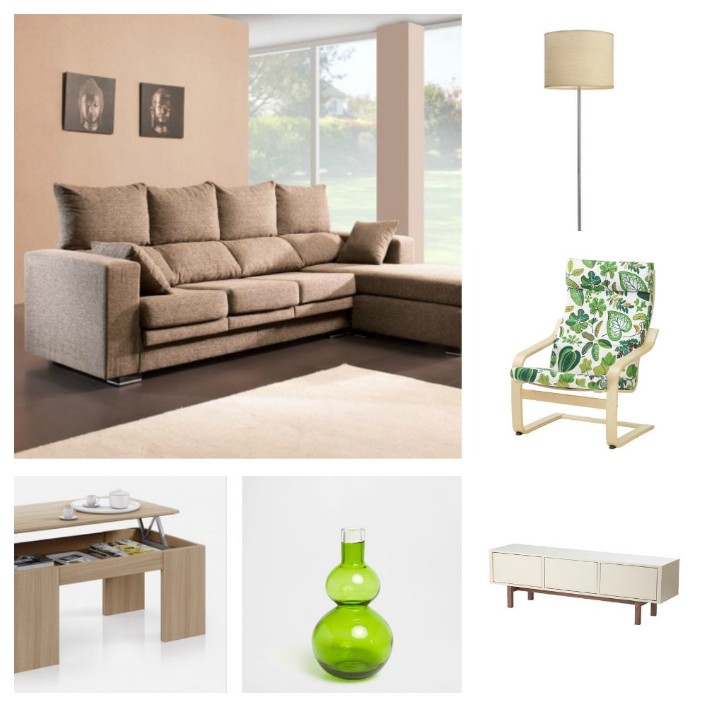 Lámpara de pie de La Oca (70,70€) / Jarrón verde de Zara Home (29,99€) / Mueble de TV de IKEA (229€) / Mesa de centro abatible de Conforama (74,99€) / Sillón de estampado verde de IKEA (89€) / Sofá chaise lounge de Merkamueble (672,18€)