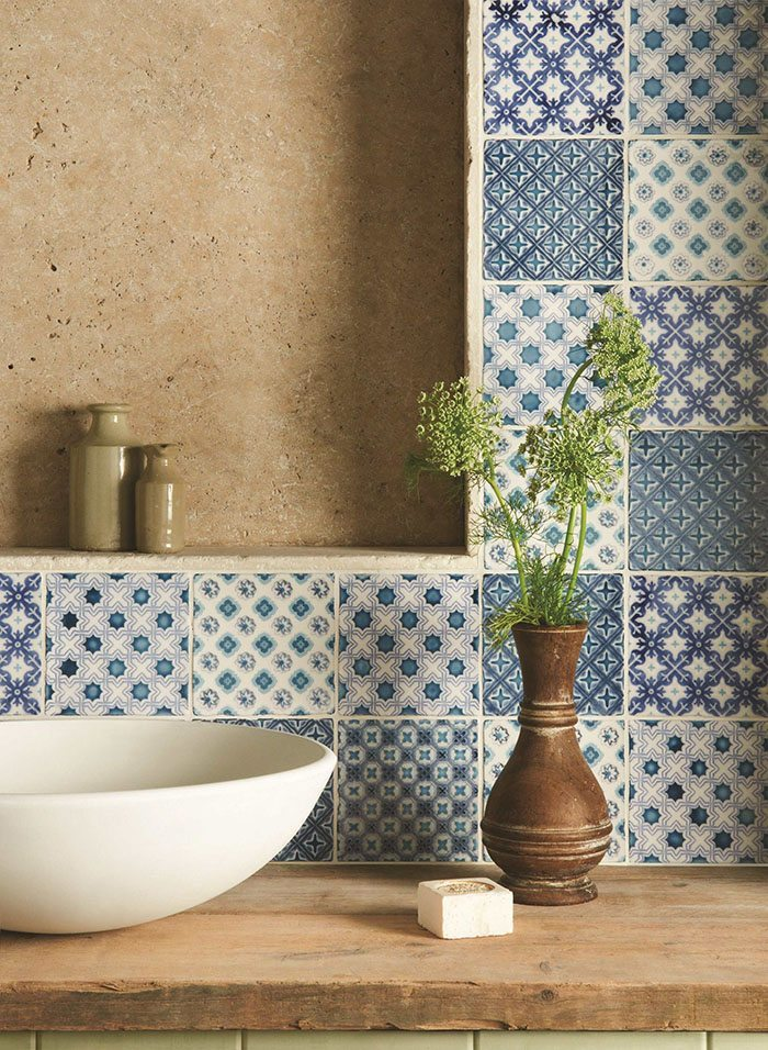 how to decorate with blue and white tiles The Winchester Tile Company patchwork in blue tones