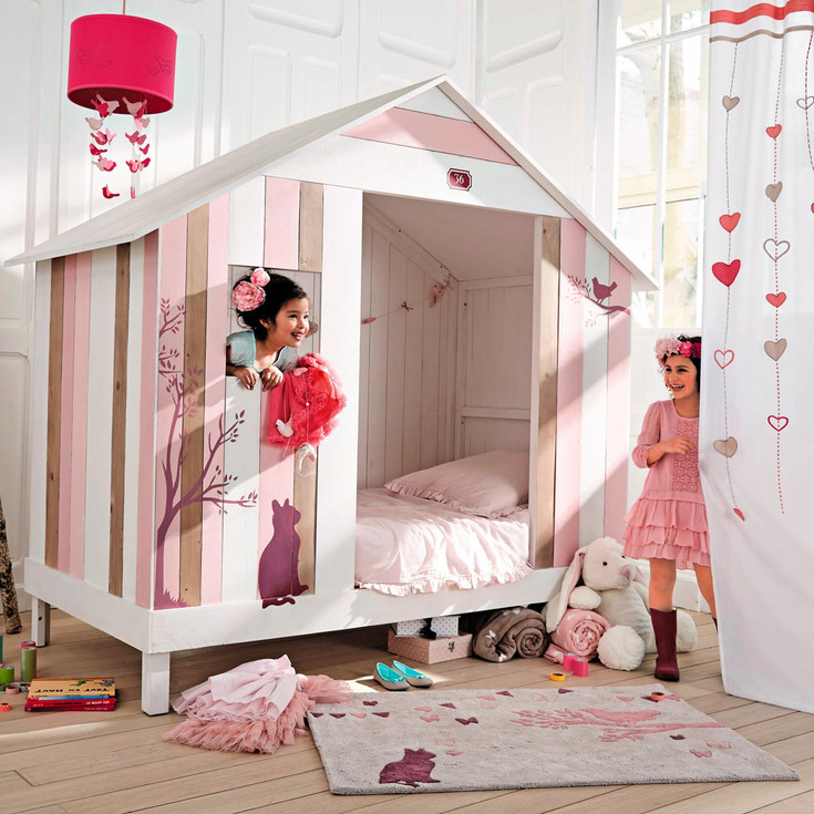 muebles infantiles de diseo cama caseta rosa maisons