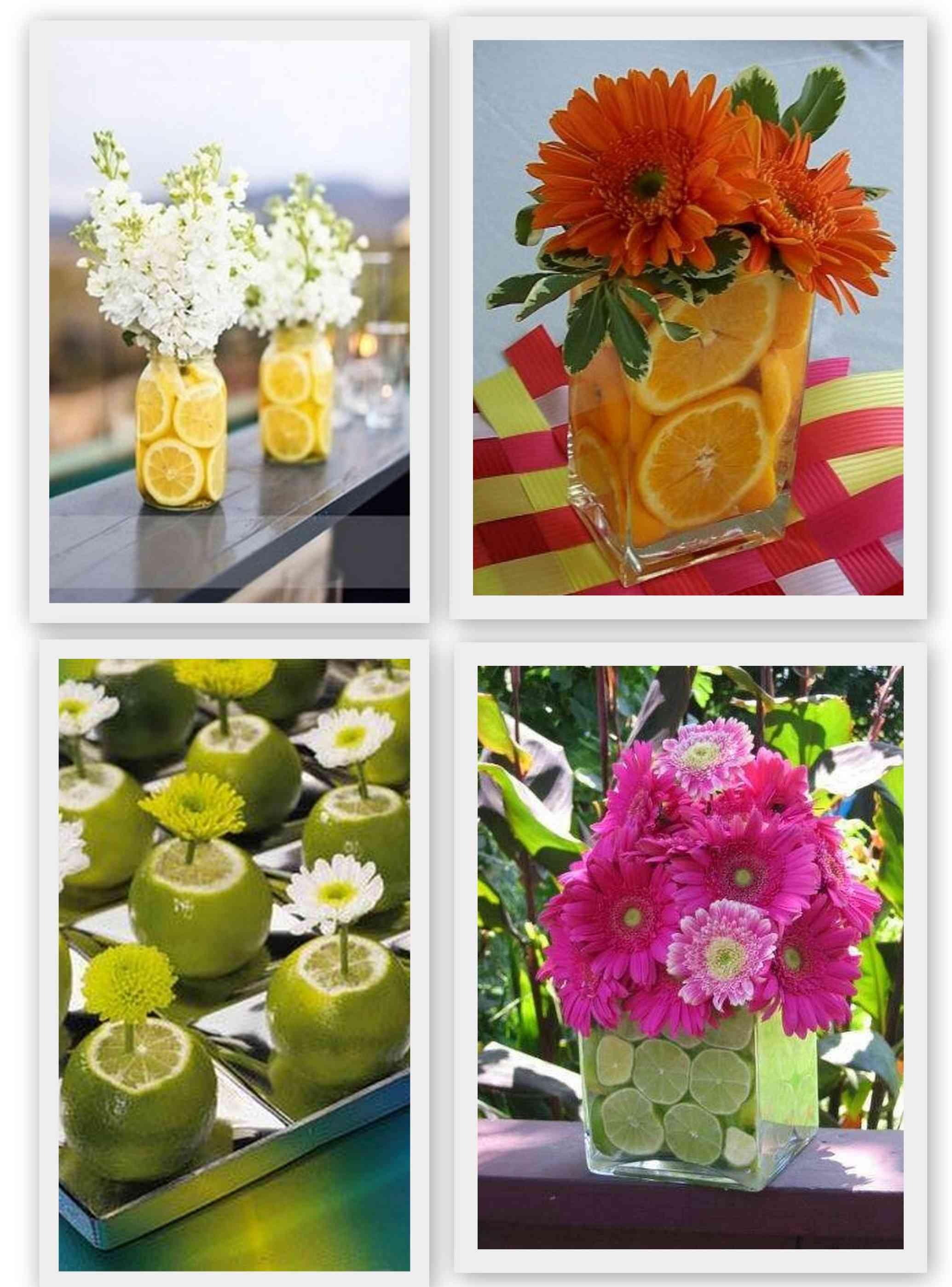 centro de mesa flores y frutas