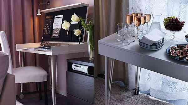 escritorio decorado con flores muy funcional