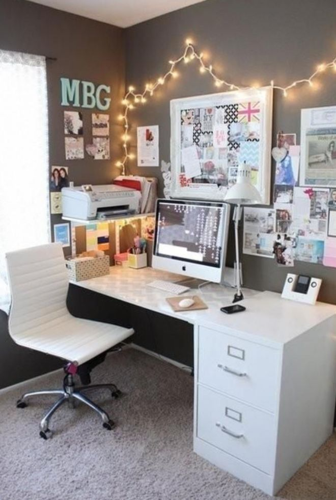 decorar escritorio con fairy lights