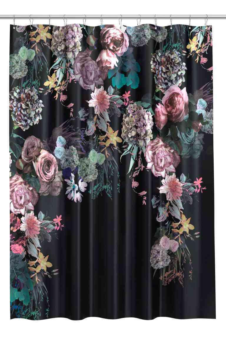 cortinas de baño originales hm flores negro
